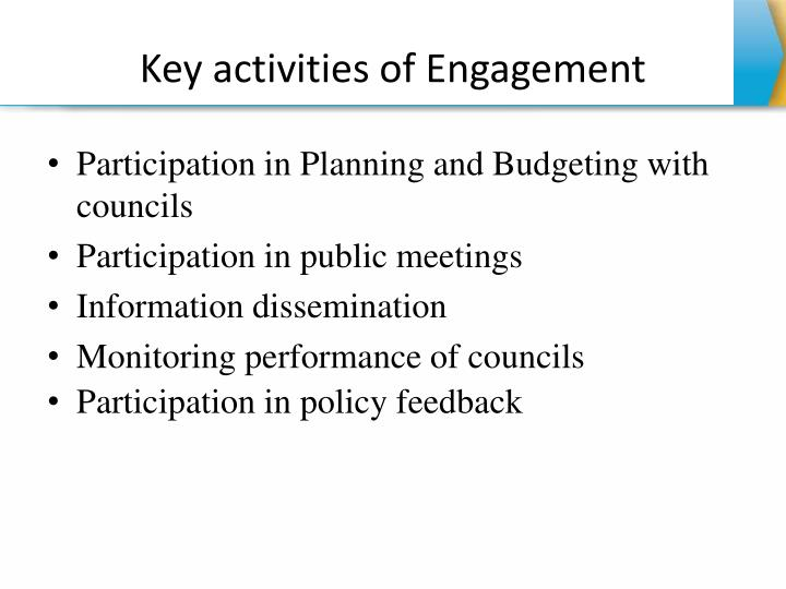 Key activities of Engagement
