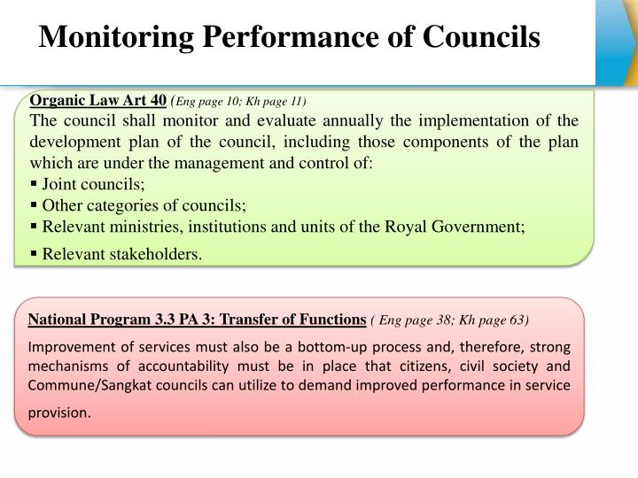 Monitoring Performance of Councils
