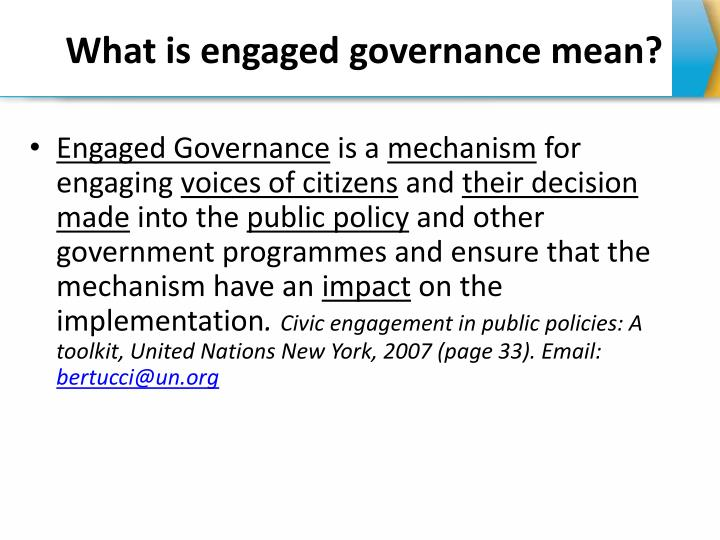 What is engaged governance mean?
