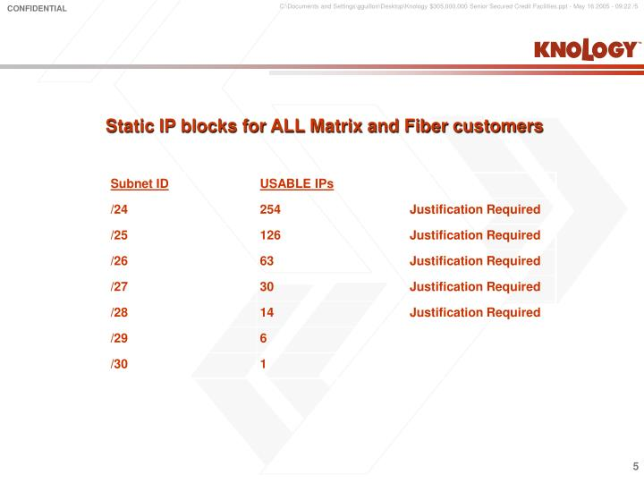 Static IP blocks for ALL Matrix and Fiber customers