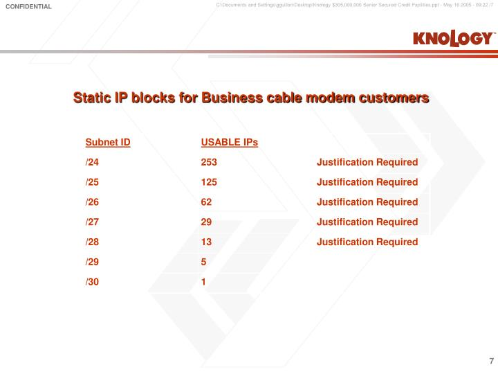 Static IP blocks for Business cable modem customers