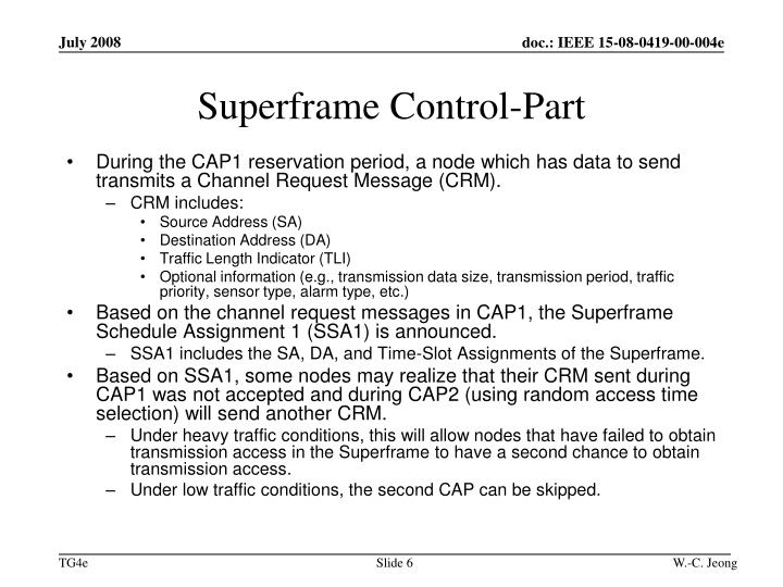 Superframe Control-Part