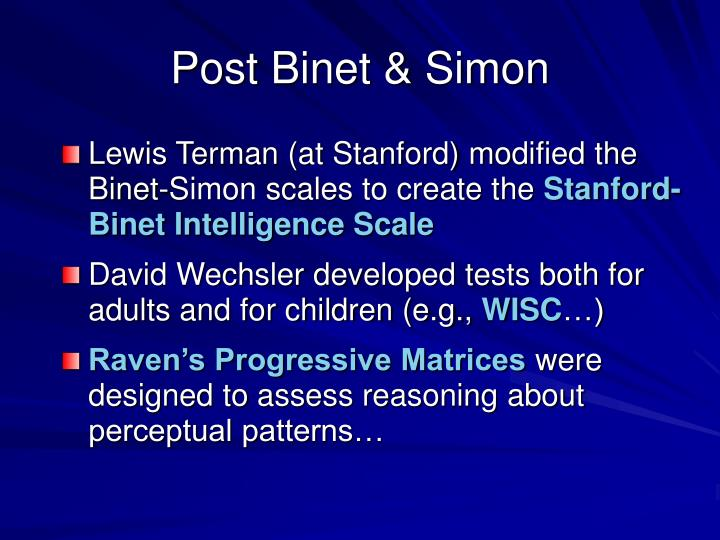 Post Binet & Simon