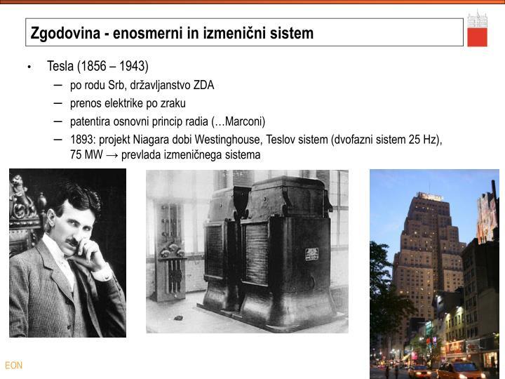 Zgodovina - enosmerni in izmenični sistem