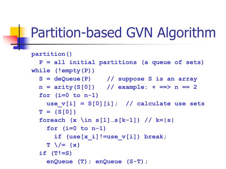 Partition-based GVN Algorithm