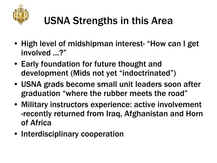 USNA Strengths in this Area