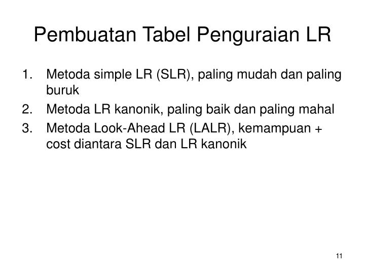 Pembuatan Tabel Penguraian LR