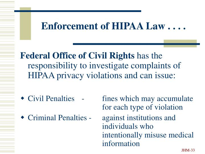 Enforcement of HIPAA Law . . . .
