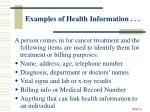 examples of health information