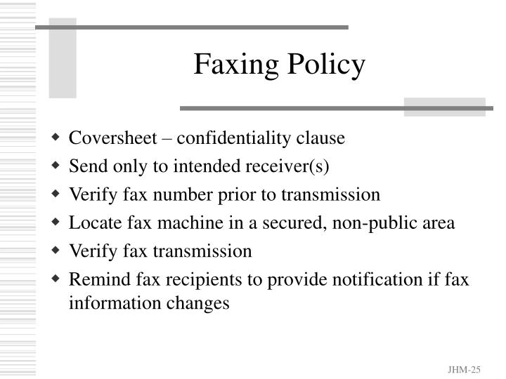 Faxing Policy