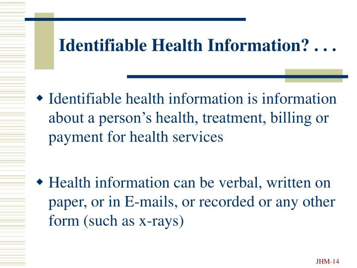 Identifiable Health Information? . . .