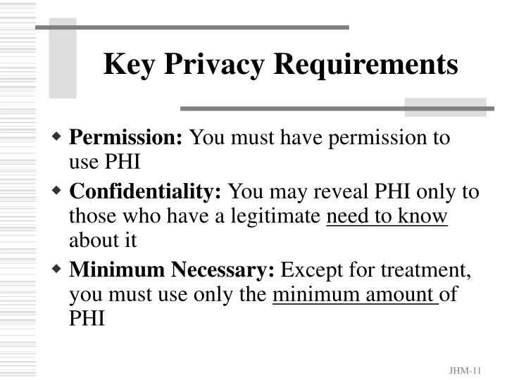 Key Privacy Requirements