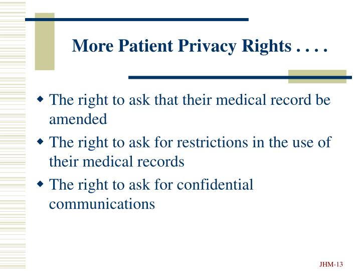 More Patient Privacy Rights . . . .