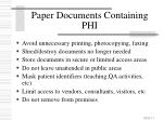 paper documents containing phi