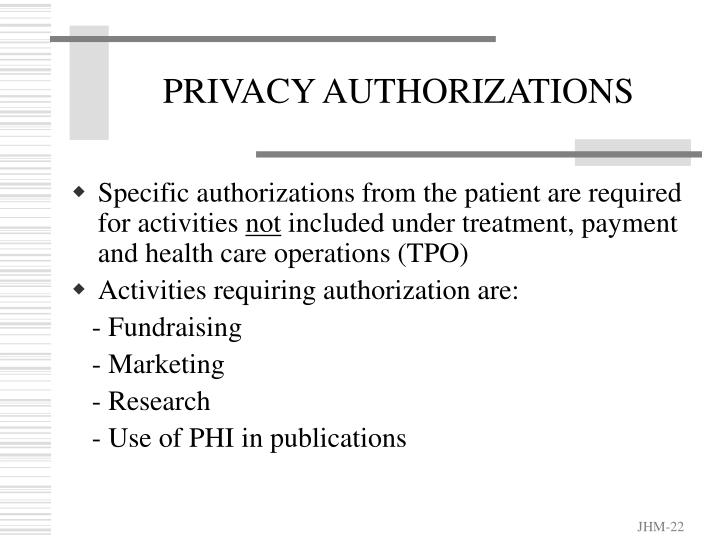 PRIVACY AUTHORIZATIONS