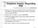telephone inquiry regarding phi