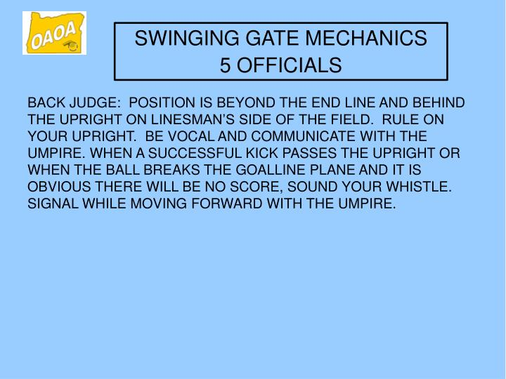 SWINGING GATE MECHANICS