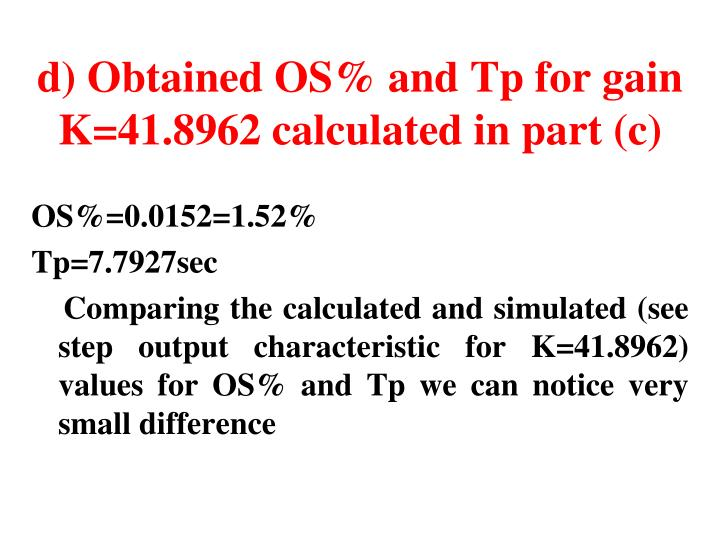 d) Obtained OS% and Tp for gain K=41.8962 calculated in part (c)