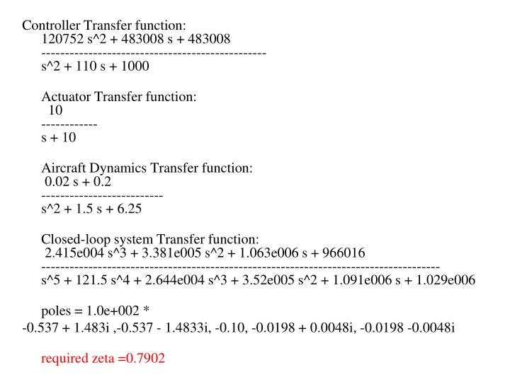 Controller Transfer function:
