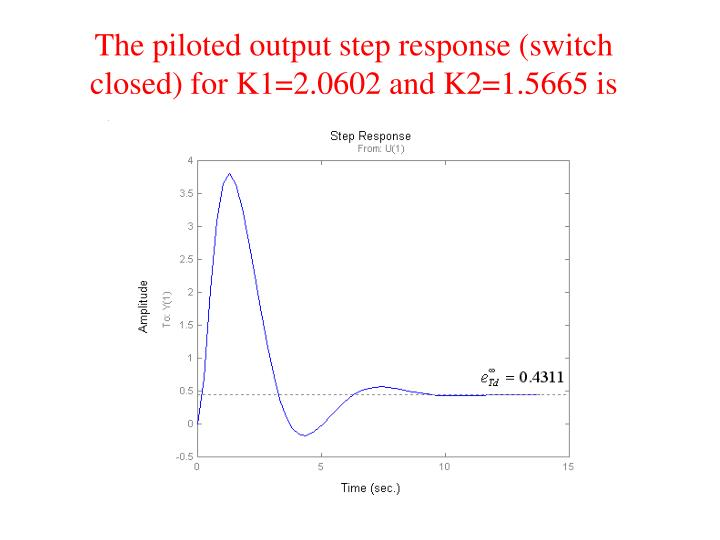 The piloted output step response (switch closed) for K1=2.0602 and K2=1.5665 is