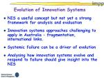 evolution of innovation systems