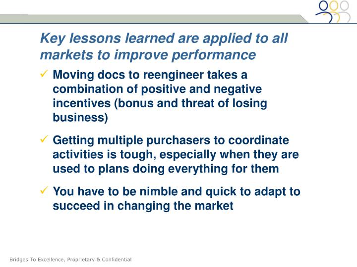 Key lessons learned are applied to all markets to improve performance