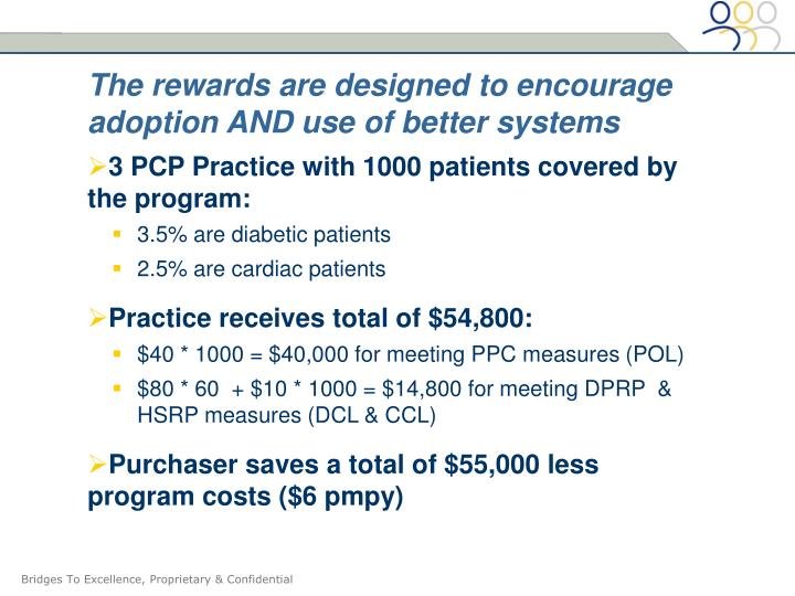 The rewards are designed to encourage adoption AND use of better systems