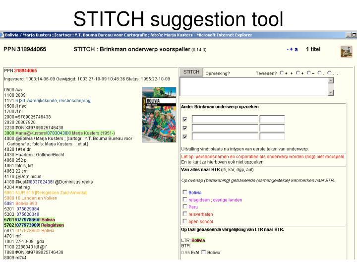 STITCH suggestion tool