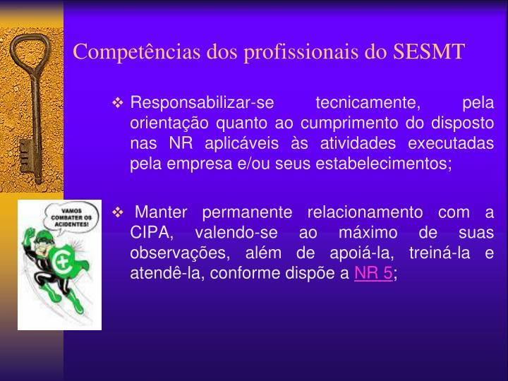 Competências dos profissionais do SESMT
