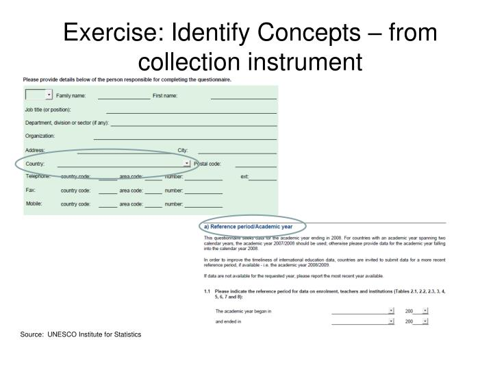 Exercise: Identify Concepts – from collection instrument