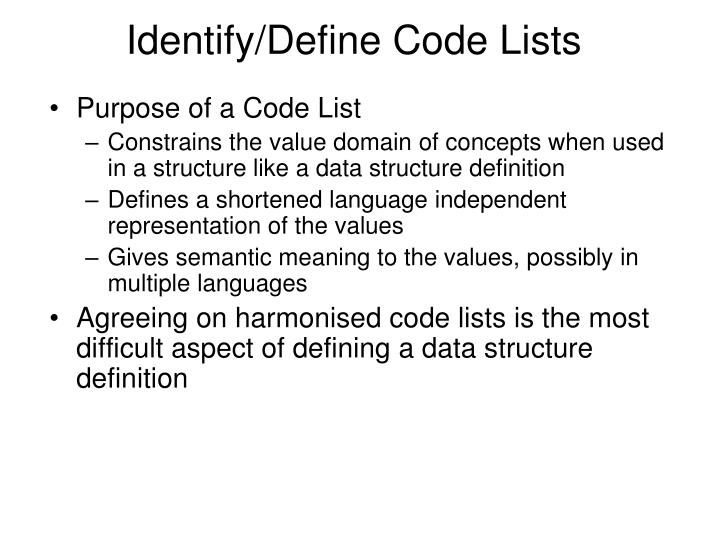 Identify/Define Code Lists