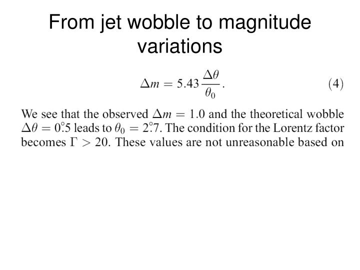 From jet wobble to magnitude variations