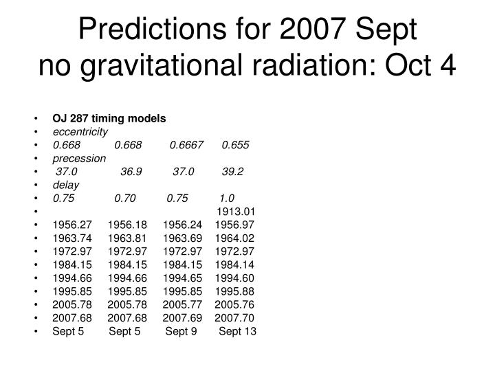 Predictions for 2007 Sept