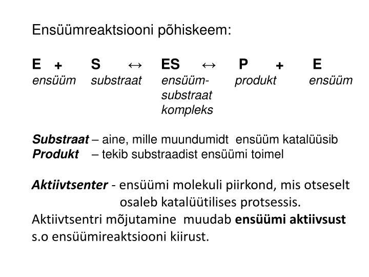 Ensüümreaktsiooni põhiskeem:
