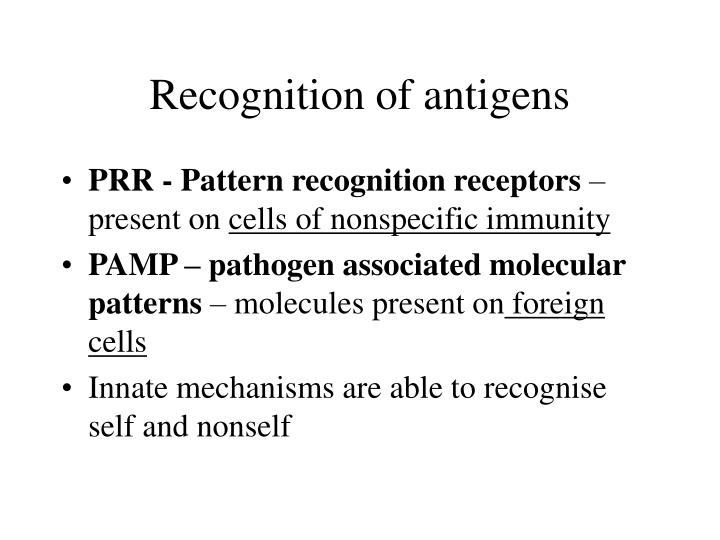 Recognition of antigens