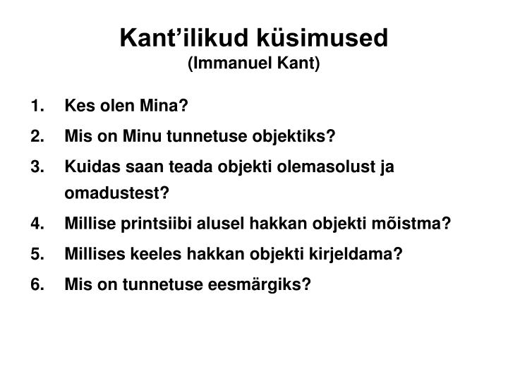 Kant'ilikud küsimused