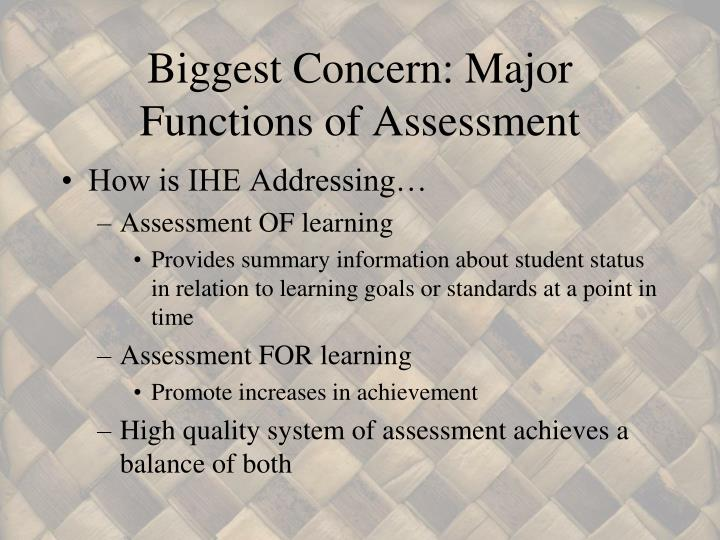 Biggest Concern: Major Functions of Assessment