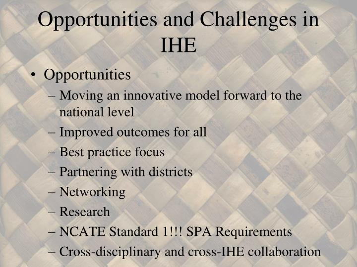 Opportunities and Challenges in IHE