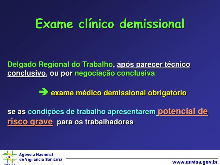 Exame clínico demissional