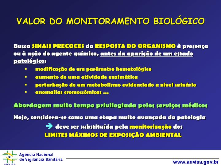 VALOR DO MONITORAMENTO BIOLÓGICO