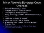 minor alcoholic beverage code offenses
