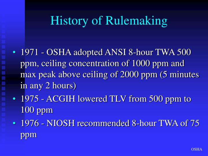 History of Rulemaking