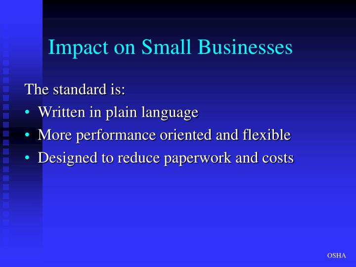 Impact on Small Businesses