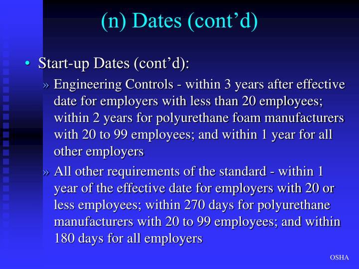 (n) Dates (cont'd)
