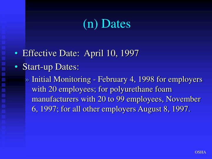 (n) Dates