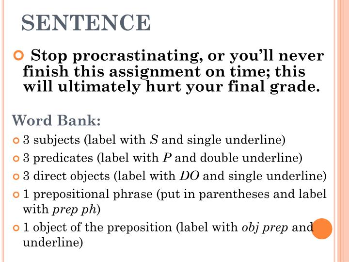 procrastination on some sentence