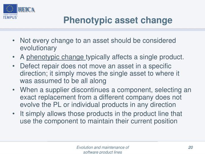 Phenotypic asset change