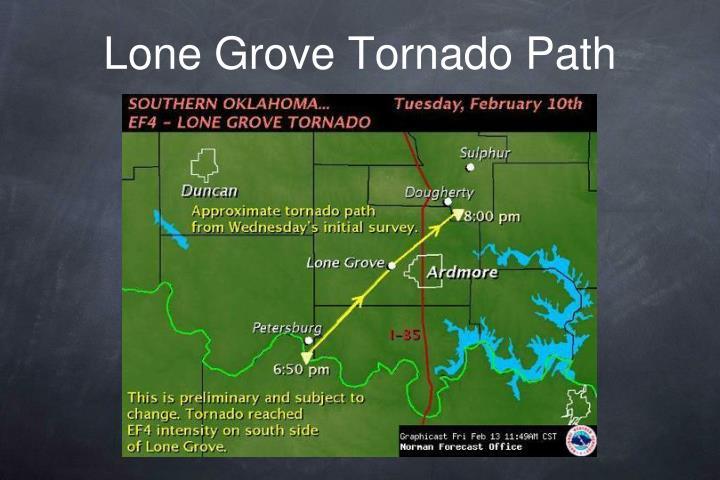 Lone Grove Tornado Path