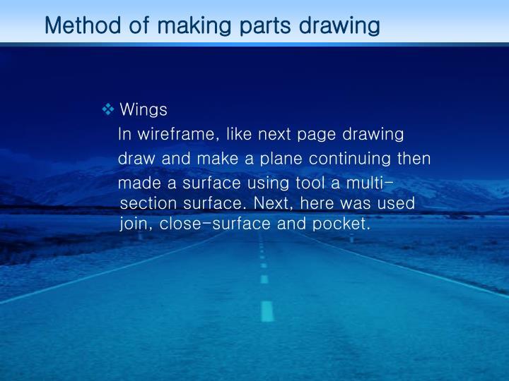 Method of making parts drawing