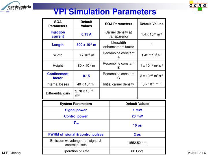 VPI Simulation Parameters